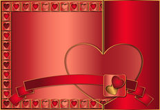 Oro di rosso del fondo del biglietto di S. Valentino Fotografie Stock