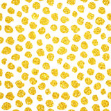 Oro disegnato a mano Dots Seamless Pattern Immagine Stock