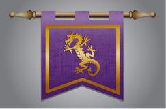 Bandiera medievale con l'emblema del drago Fotografia Stock Libera da Diritti