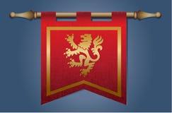 Bandiera medievale con l'emblema del drago Immagini Stock Libere da Diritti