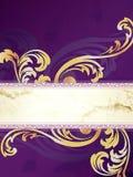 Oro e bandiera verticale viola del Victorian Fotografia Stock Libera da Diritti