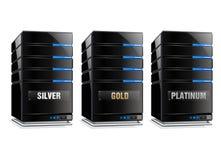 Oro e calcolatore centrale d'argento del platino Fotografie Stock
