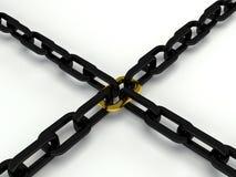 Oro e catena nera 3d Fotografie Stock Libere da Diritti