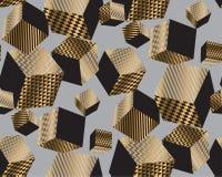 Oro e cubi geometrici del nero nel caos dinamico illustrazione di stock