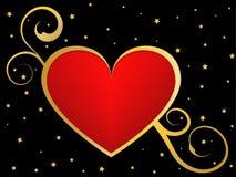 Oro e fondo nero di amore Fotografia Stock