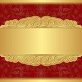 Oro e fondo rosso Fotografie Stock Libere da Diritti