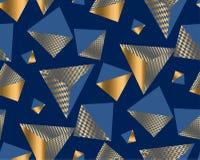 Oro e forme geometriche blu nel caos dinamico illustrazione vettoriale