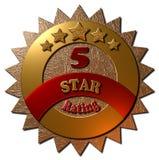 Oro e guarnizione cinque stelle rossa di valutazione Fotografia Stock Libera da Diritti