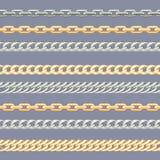 Oro e hains d'argento del  di Ñ Modello senza cuciture orizzontale con il hain del  del metallo Ñ illustrazione vettoriale