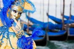 Oro e mascherina blu Fotografie Stock Libere da Diritti