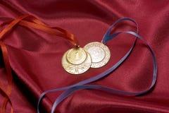 Oro e medaglie d'argento Immagine Stock Libera da Diritti