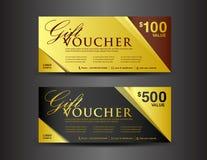 Oro e modello nero del buono di regalo, progettazione del buono, biglietto, vecto Fotografia Stock Libera da Diritti
