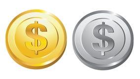 Oro e moneta d'argento Fotografie Stock