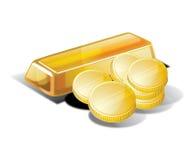 Oro e monete Immagini Stock