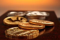 Oro e monete d'argento Fotografia Stock Libera da Diritti