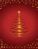 Oro e pino rosso con la stella Fotografie Stock Libere da Diritti