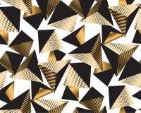 Oro e piramide geometrica del nero nel caos dinamico royalty illustrazione gratis