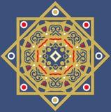 Oro e reticolo blu delle mattonelle di ceramica Fotografia Stock Libera da Diritti