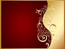 Oro e scheda rossa dell'invito Immagine Stock