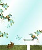 Oro e Teal Birds Fotografie Stock Libere da Diritti