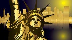 Oro e vettore blu scuro della statua e di New York Illustrazione Vettoriale