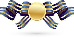 Oro ed arco blu con la medaglia Immagine Stock Libera da Diritti