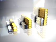 Oro ed argento Fotografia Stock