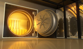 Oro en el banco Fotos de archivo
