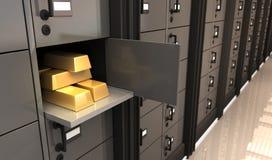 Oro en el banco Imagen de archivo