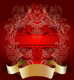 Oro en fondo rojo de la tarjeta del día de tarjeta del día de San Valentín Imágenes de archivo libres de regalías