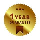 Oro etiqueta de la garantía de 1 año, insignia, símbolo, marca, emblema fotos de archivo