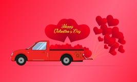 Oro feliz de día de San Valentín el coche rojo de la camioneta pickup lleva el corazón flotante Ilustración EPS10 del vector ilustración del vector
