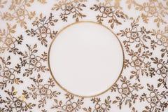 Oro floreale ed estratto bianco Fotografia Stock Libera da Diritti