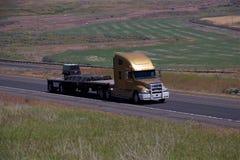 Oro Freightliner/plano cargado foto de archivo
