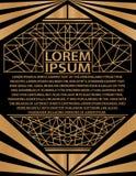 Oro gatsby dell'invito di art deco della carta del manifesto dell'opuscolo di presentazione dell'estratto del modello di progetta illustrazione vettoriale