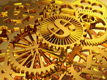 Oro gears Fotografie Stock