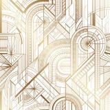 Oro geométrico del art déco inconsútil y modelo blanco stock de ilustración