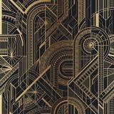 Oro geométrico del art déco inconsútil y modelo negro libre illustration