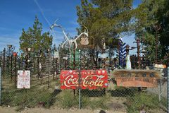 Oro Grande, California, USA, April 17, 2017: Bottle Tree Ranch view on historical route 66. USA royalty free stock photography