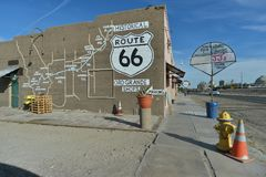 Oro Grande, California, USA, April 17, 2017: View of the Route 66 map on buildings on Antique Station, on Mother Road royalty free stock photos