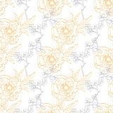 Oro Gray Drawing Peony Floral Diagonal di vettore illustrazione vettoriale