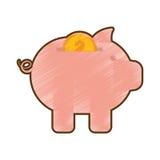 Oro guarro de dibujo del dólar de la moneda del dinero Ilustración del Vector