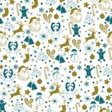 Oro inconsútil de la Navidad y modelo azul en el fondo blanco con los ciervos, muñeco de nieve, caramelo, calcetín, estrella, ico libre illustration