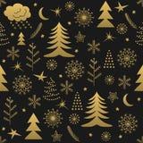 Oro inconsútil del modelo de la Navidad Foto de archivo libre de regalías