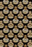 Oro inconsútil del modelo del damasco Fotografía de archivo