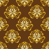 Oro inconsútil del modelo del damasco ilustración del vector