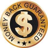 Oro indietro garantito dei soldi Fotografia Stock