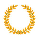 Oro Laurel Wreath L'annata avvolge gli elementi araldici di progettazione con le strutture floreali composte dei rami dell'alloro Immagine Stock