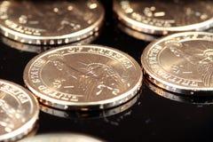 Oro lle monete dell'un dollaro Immagini Stock