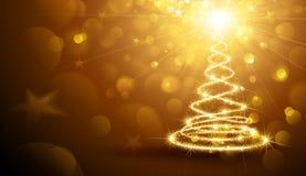 Oro magico dell'albero di Natale Fotografia Stock Libera da Diritti